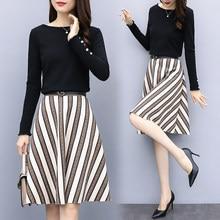 ed191cc9bfc2be 2018 autumn XL - 5XL new plus size women blouse top + A line Faux suede striped  skirt outfit with belt D132