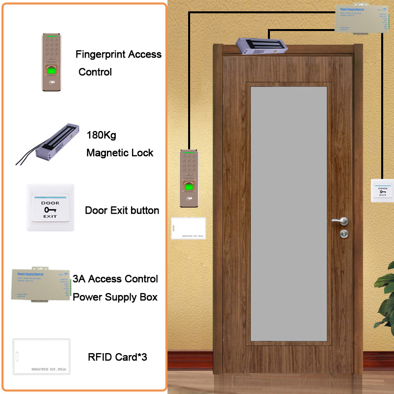 Eseye RFID Система контроля доступа комплект деревянные очки дверь Eletric магнитный замок ID Card Мощность коробка для принадлежностей двери кнопка