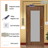 Eseye RFID Access Control System Kit Wooden Glasses Door Set Eletric Magnetic Lock ID Card Power Supplier Box Door Exit Button