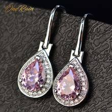 OneRain 100% 925 Sterling Silver Water Drop Sapphire Citrine Topaz Amethyst Gemstone Drop Dangle Hook ต่างหู(China)