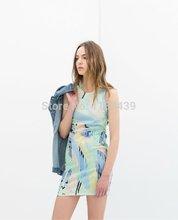 2014 the new ink print women's clothing irregular sleeveless Casual vest Tank dresses in summer