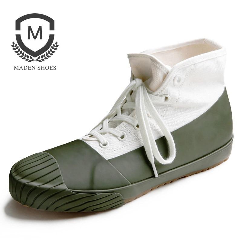 Maden 1983 s 12.6 oz Kurume Vulcanisé Hommes Chaussures D'okayama Kurashiki Toile Haut-dessus Vert Gris Noir Rétro Vintage classique Casual
