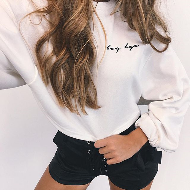 Fall / Winter Ladies Ins Embroidery Letter Loose Pullover 2