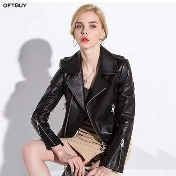 OFTBUY 2018 spring autumn genuine leather jacket women real sheepskin leather jacket bomber jacket black slim waist short coat leather jacket