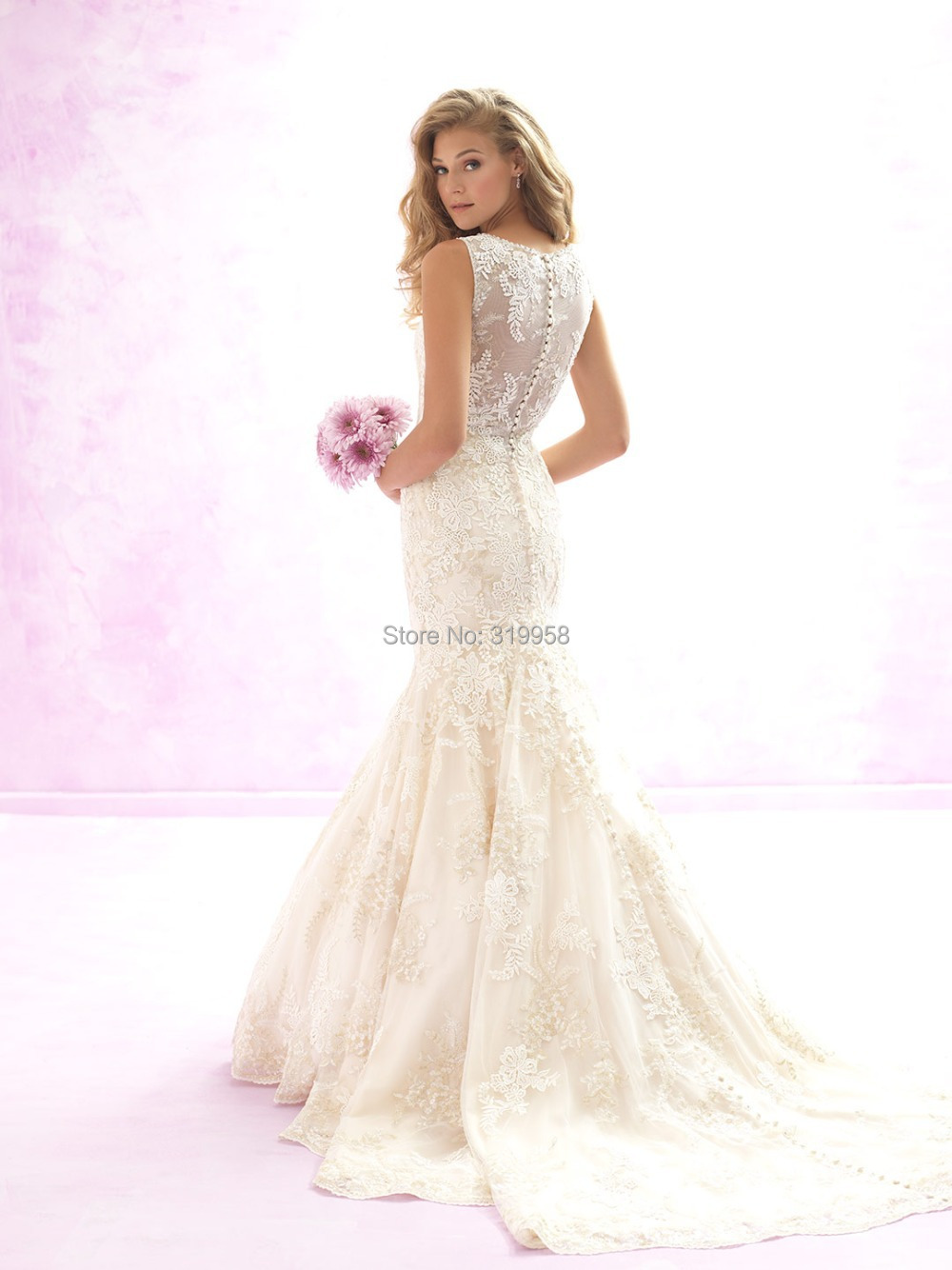 2015 Vintage Lace Mermaid Wedding Dresses Tank Top Appliques Ivory ...