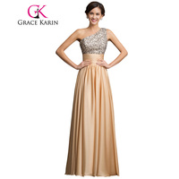 Free Shipping GK One Shoulder Sequins Adorned Empire Formal Evening Dress Elegant Long Evening Gown Night