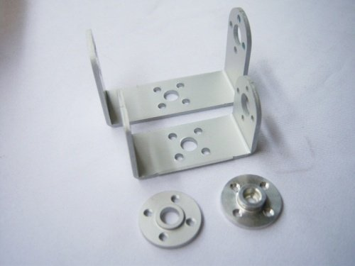 F03711 Robot servo spare parts: Metal U holder + round servo mount Bracket universal aluminum internal thread round servo mount bracket silver