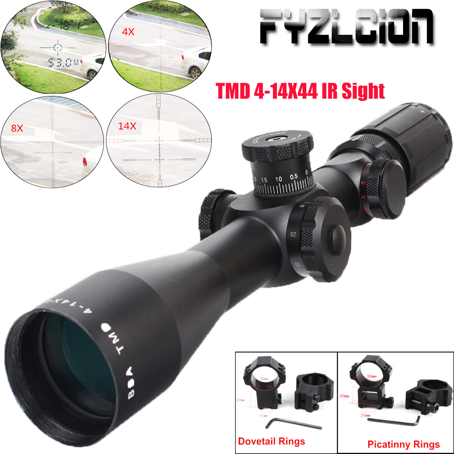 TMD 4-14X44IR FFP Hunting Tactical IR First Focal Plane Airgun Riflescope Glass Etched Reticle Illuminated Tactical Riflescope цена