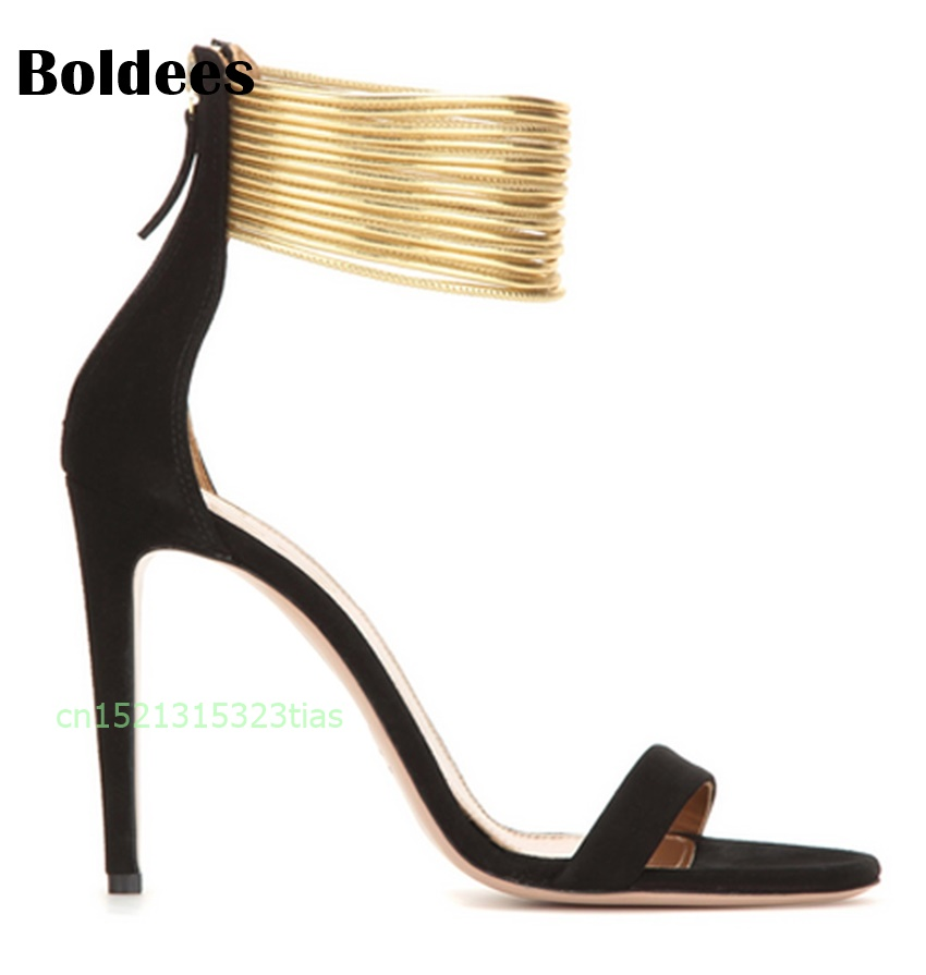 Summer Open Toe Women's High Heel Sandals Back Zipper Ankle Wrap Shoes Beige Black Gladiator Shoes Ankle Strappy Big Size summer hot black mesh patchwork women open toe sandals ankle lace up ladies gladiator high heel zipper back dress shoes stiletto