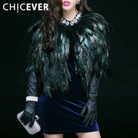 CHICEVER 2016 Autumn Winter Natural Feathers High Grade Vest Coat Women Jacket New Streetwear