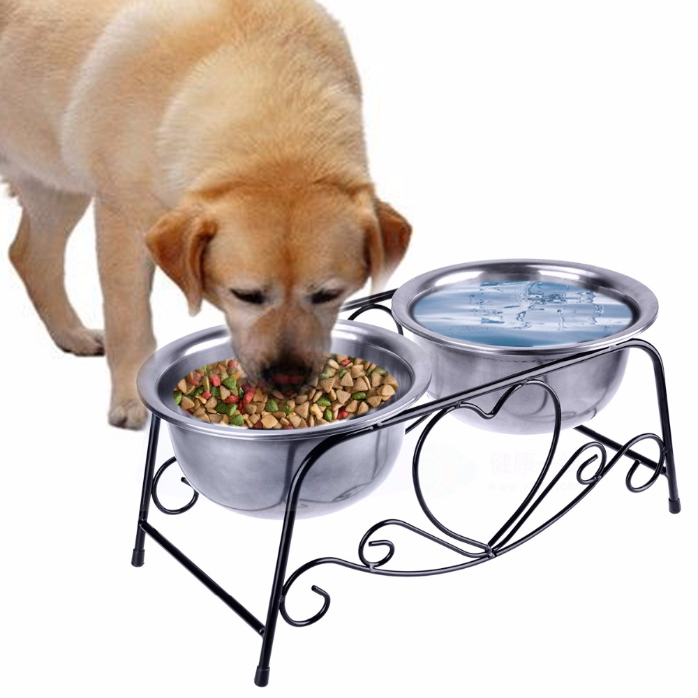 Stainless Steel Pet Bowls For Dogs With Double Bowls ,Elevated Pet Feeder Stainless Steel Bowls For Food And Water