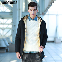 Woodvoice brand mens clothing fashion Brief winter autumn hooded coat Men solid Jackets And Coats male Windbreaker Trench parka