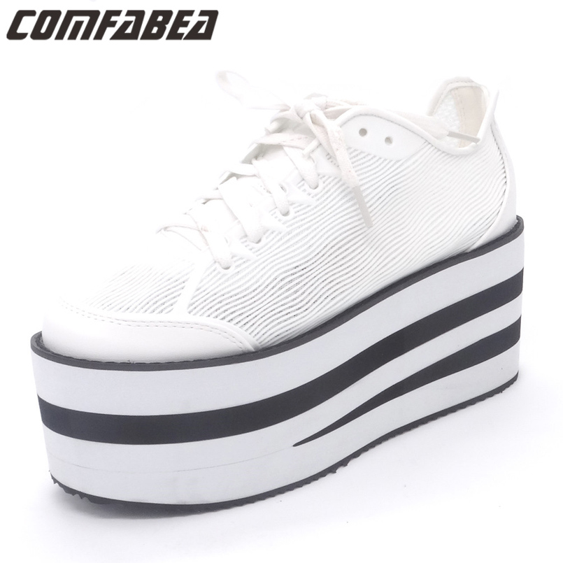 Women's High Platform Shoes 2018 Spring Autumn Harajuku Shoe Women Casual Canvas Shoes Thick Sole Ladies Zapatillas Mujer e toy word canvas shoes women han edition 2017 spring cowboy increased thick soles casual shoes female side zip jeans blue 35 40