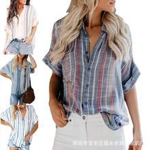 Women Striped Shirt Long Sleeve  V-neck Shirts Casual Tops Plus size female top shirt Elegant v neck недорого