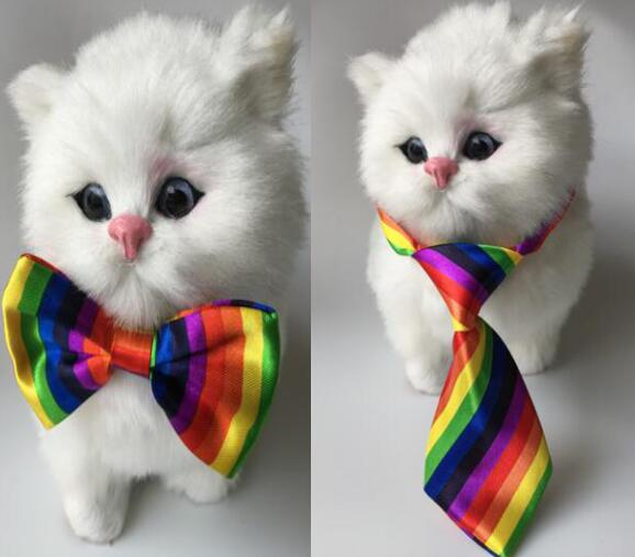 100pcs lot Big sale Pet Dog puppy Cat Rainbow Bow Ties Grooming Supplies for wedding