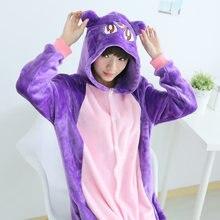 Аниме Сейлор Мун Косплэй костюм Диана пижамы набор животных Фиолетовый кот пижамы сна Lounge Пижама унисекс мягкие пижамы