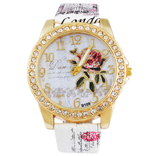 MJARTORIA Rhinestone Women Watches Flower Luxury Ladies Clock Wristwatches Leather Causal Dress Quartz Watch Bracelet Watches