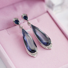 Fashion Water Drops Blue Stone Drop Dangle Earring Women Wedding Brincos Engagement Party Jewelry Statement Earings