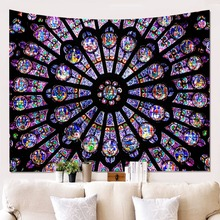Notre Dame Cathedral In Paris South Rose Window Tapestry Polyester Printed Wall Hanging Decor Art Newest wall hanging art window ocean print tapestry