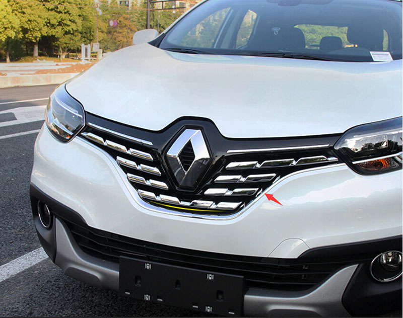 car abs chrome front grille trim auto grilledecoration cover trim for renault kadjar 2016 in. Black Bedroom Furniture Sets. Home Design Ideas