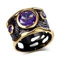 Урожай любовь обручальные кольца с фиолетовым cz diamond black & позолоченные bague ювелирные изделия коктейль кольцо для женщин