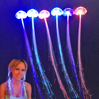 Led Party Rave 100pcs LED/Light Braid Luminous Hairpin Flashing Fiber Optic Glow Hair Braid For Christmas Party Decoration