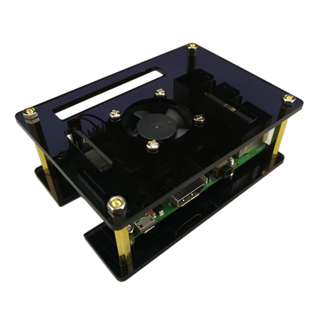 GT3A Acrylic Case With Cooling Fan For Raspberry Pi 4 Model B/3B+/3B/2B Men Programmable Toys Parts For Kids Adults New