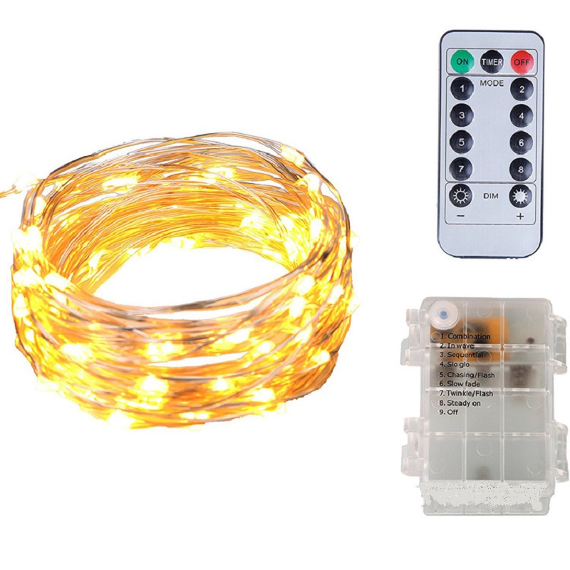 5M Remote LED Copper String Lights Waterproof Holiday Strip Lighting for Fairy Christmas Tree Wedding Party Home Decoration lamp
