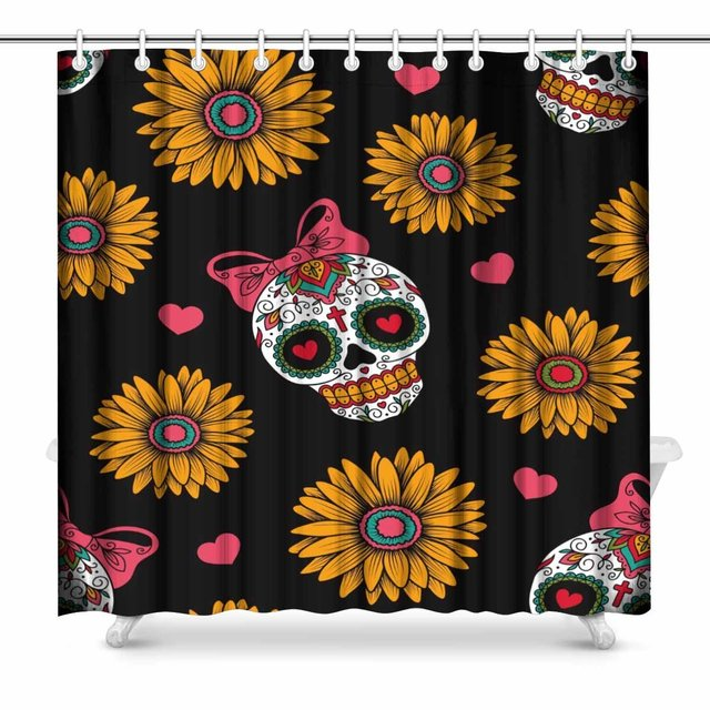 Aplysia Mexican Skulls Bathroom Shower Curtain Accessories 72 Inches