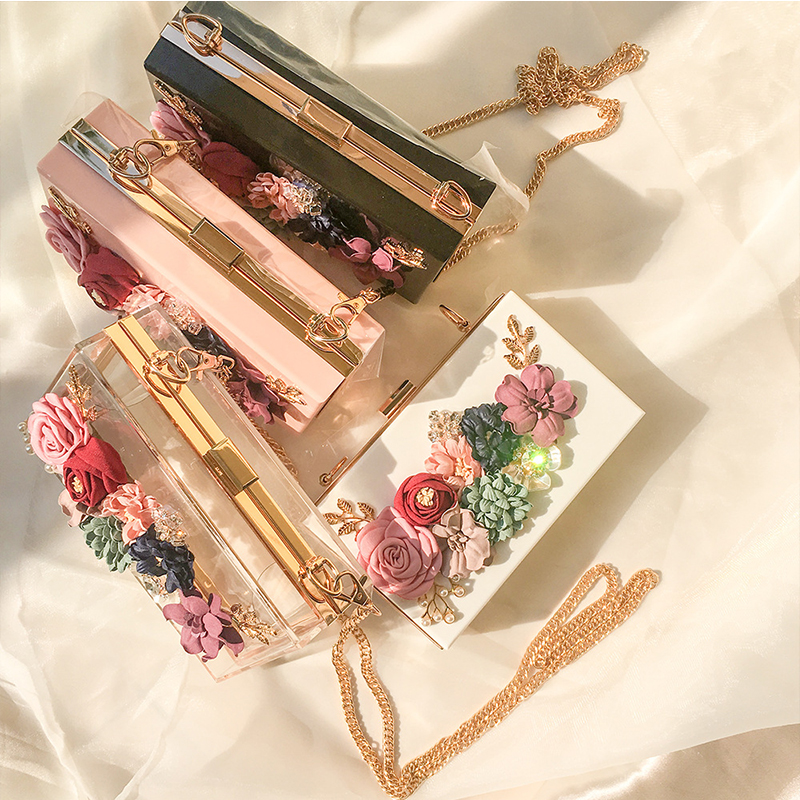 Transparent Wedding Clutch Purse Flower Pearl Acrylic Clutch Bags for Women Shoulder Bag Beach Bag for Summer ZD1316 5