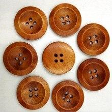 Geinne 50 шт. натуральный Цвет деревянный Пуговицы 4 отверстия ручной работы Скрапбукинг для свадебного декора 25 мм