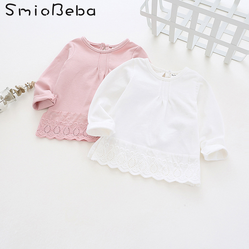 Smiobeba Autumn Newest Baby Girls' Tee-Shirt Children's Lace Pleated Top Shirt Kids Pure Cotton Pink Cheap Wholesale Price Shirt pink lace up design long sleeves top and pleated design skirt two piece outfits