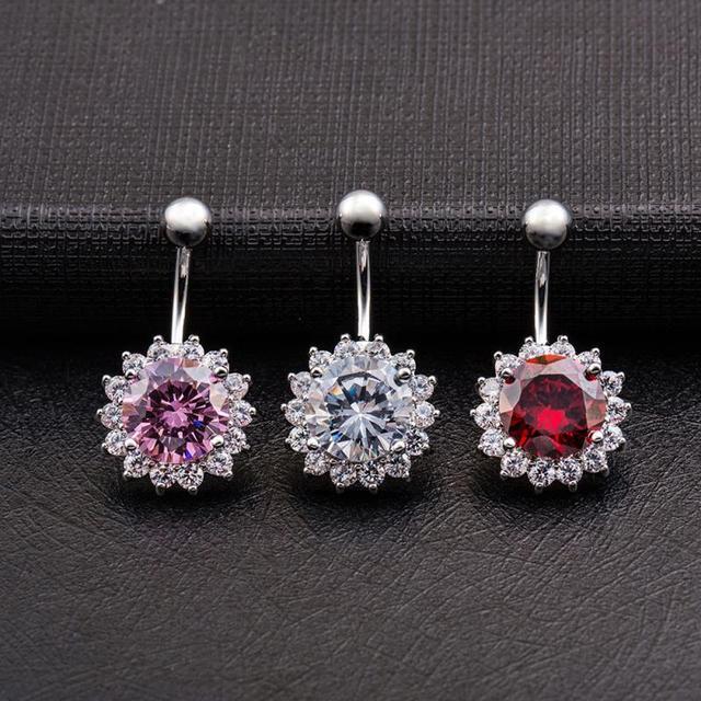 Fashion Sunflowers round zircon navel nail Women body piercing ...