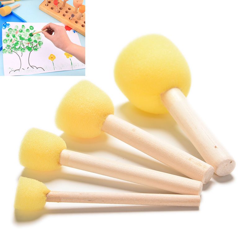 4pcs/set Paint Brush Wooden Handle Seal Sponge Brush Children's Painting Tool DIY Wooden Sponge Yellow Paint Brush