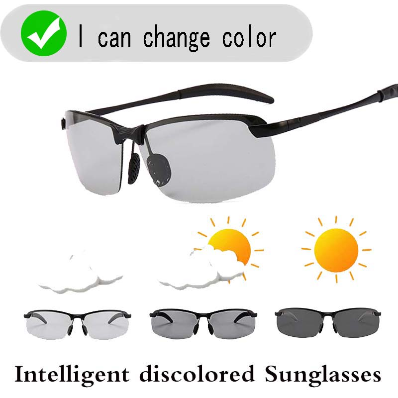 Intelligent Photochromic SunglassesMen's Polarized Retro Fashion Square Driving Mirror