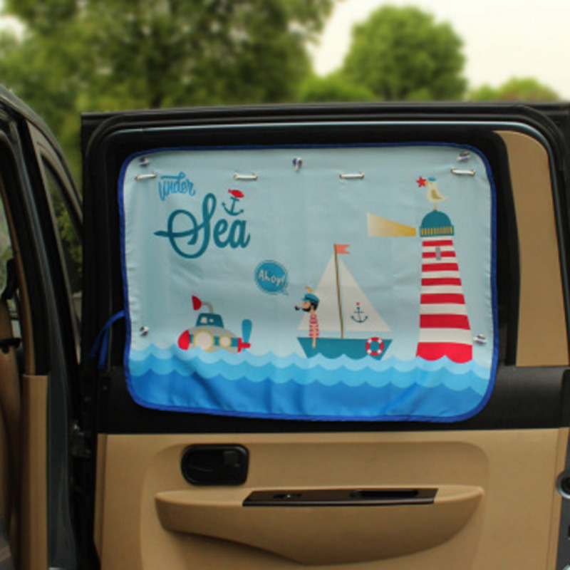 Car Curtain Cartoon Cute Side Window Sunshades Roller Blinds Curtains On Car Windows Shade Girl Auto