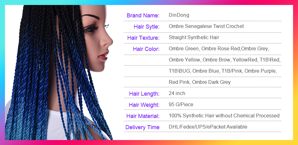 ᗖDindong 30 raíces ombre crochet trenzas Senegalese Twist 24 ...