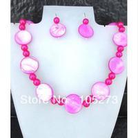 Commercio all'ingrosso Pink Shell Gioielli 6-20mm Rotonda Coin Madreperla Collana Gioielli Orecchini Set Wedding Partito di Promenade vacanza