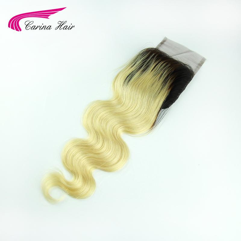 ФОТО Two tone ombre blonde body wave lace closure T1b/613 free parting hairline Brazilian human hair lace top closure free shipping