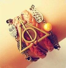 Antique Bronze harry potter magic hallows bracelet, harry potter bracelet, owl wing bracelet(China (Mainland))