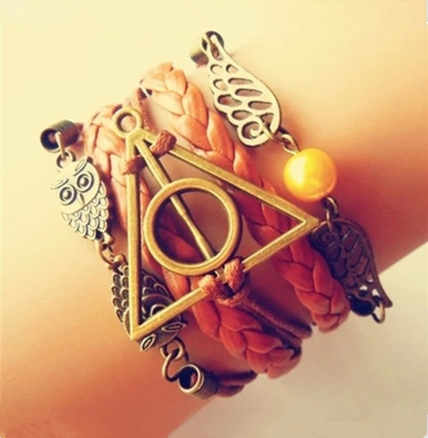 Antique Bronze harry potter magic hallows bracelet, harry potter bracelet, owl wing bracelet