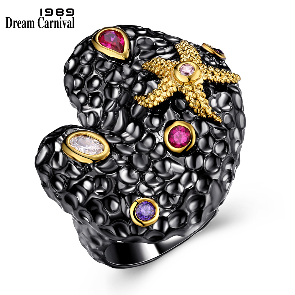 DreamCarnival 1989 Starfish Heart Shape Fashion Jewelry CZ Bijoux Mujeres Anillos Anniversary Vintage Ring for Women ZR14124 pair of starfish shape earrings for women