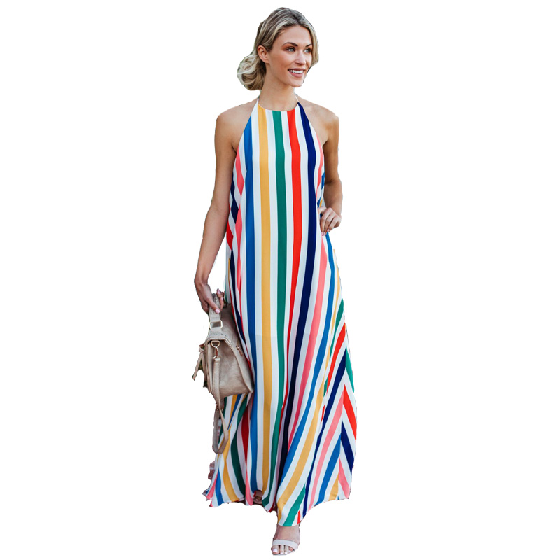 Summer Long Dresses Women Rainbow Striped Beach Maxi Dresses Sleeveless Halter Backless Boho Robe Longue Femme 2019