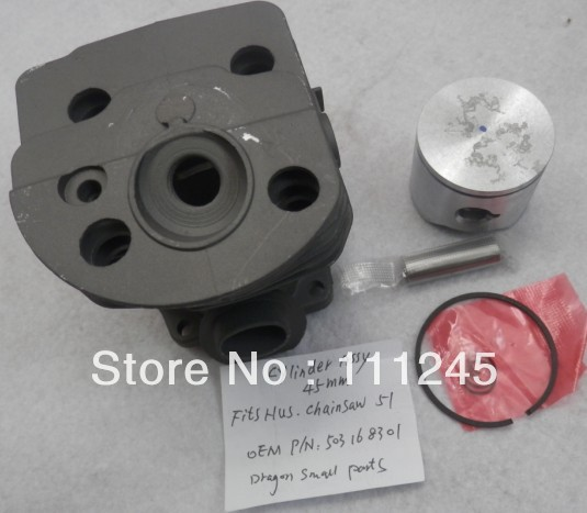 45MM CYLINDER ASY  FOR HUSQVARNA CHAINSAW 50 51 ZYLINDER Assy WITH PISTON KIT RING SET PIN CLIPS KITS  503 16 83 01