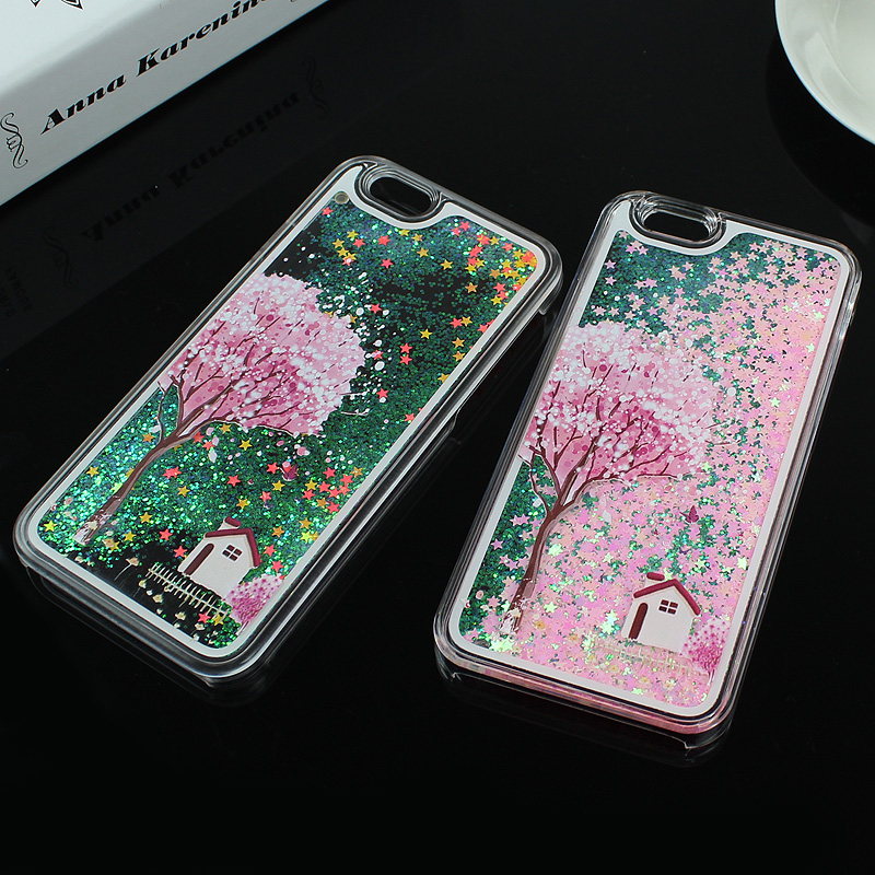 Fashion Transparent Dynamic Liquid Glitter Cases For iPhone 6 6s 6 Plus 5 5s SE Colorful Paillette Sand Quicksand Star Case Back