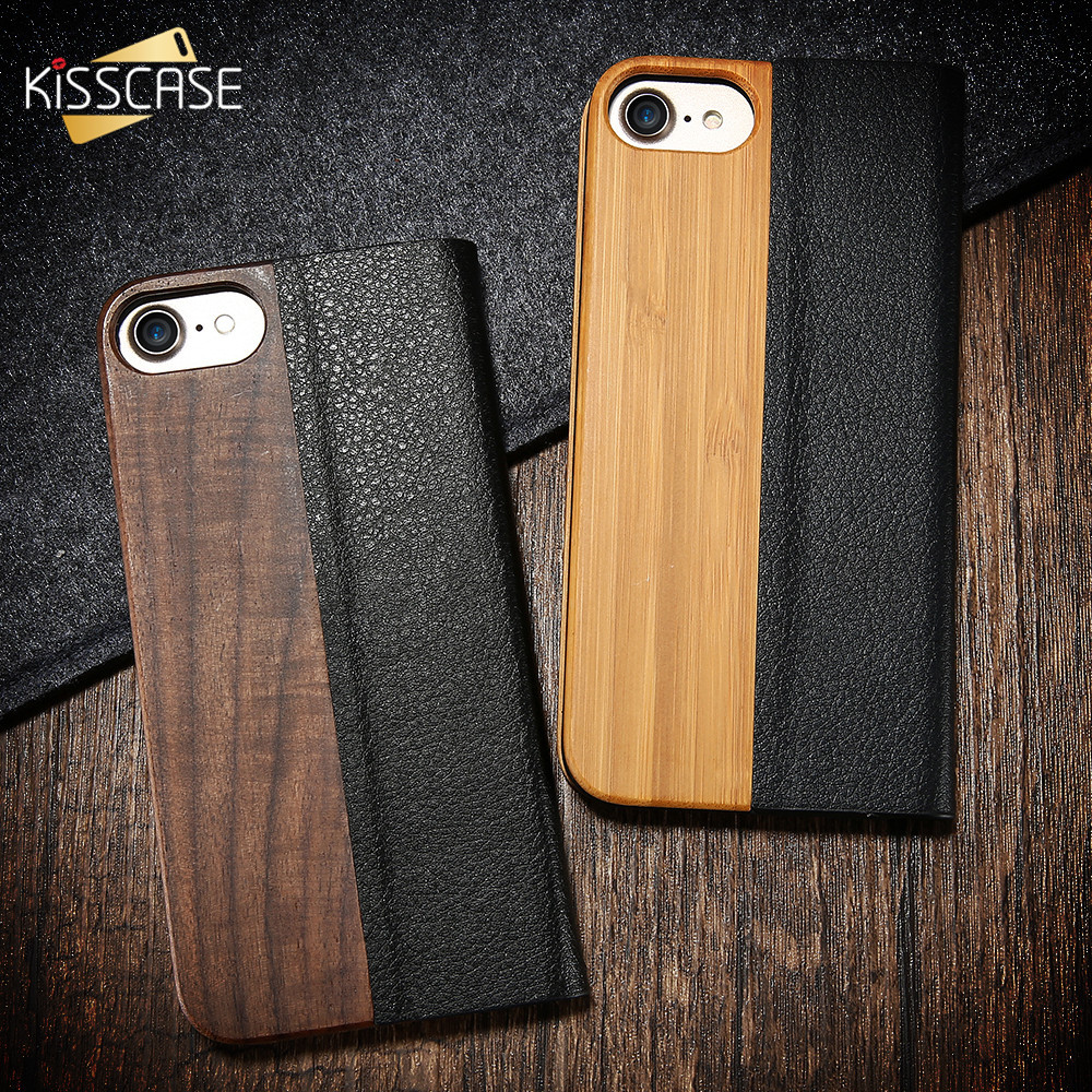KISSCASE Original Design Bamboo Wood Phone Case For iPhone 8 7 Plus Natural PU Leather Flip Case For iPhone X 8 7 6S 6 Plus Capa