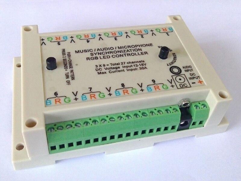 Muziek Sync controller, geluid actief, geluid om licht, audio activeren, 3*9 groepen = 27 kanalen, DC 12 V voor gemeenschappelijke anode armaturen. - 4