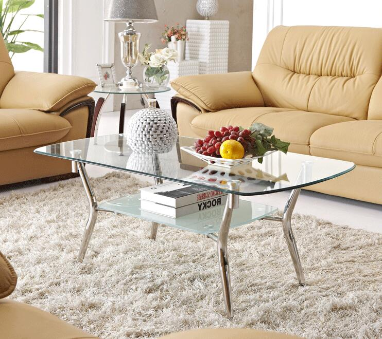 Free shipping Stainless steel glass tea table. Rectangular steel. Transparent tea table american art hardware toughened glass tea table creative tea table rectangular coffee table