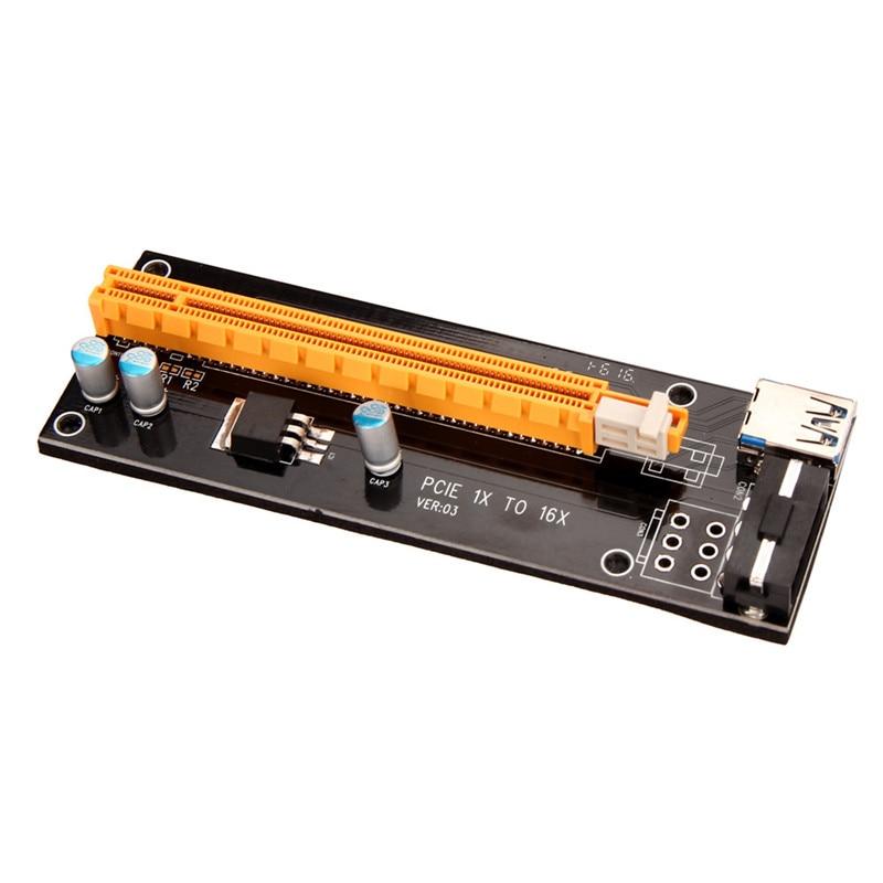 20PCS PCI-E PCI Express Riser Card 1x to 16x USB 3.0 Data Cable SATA to 4Pin IDE Molex Power Supply for BTC Miner Machine RIG