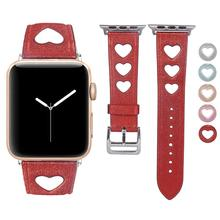 BOX-W For Apple Watch Band Girls, Leather Watchband Unique Heart Design Strap Female Cuff Bracelet for iWatch Series 4 3 2 1